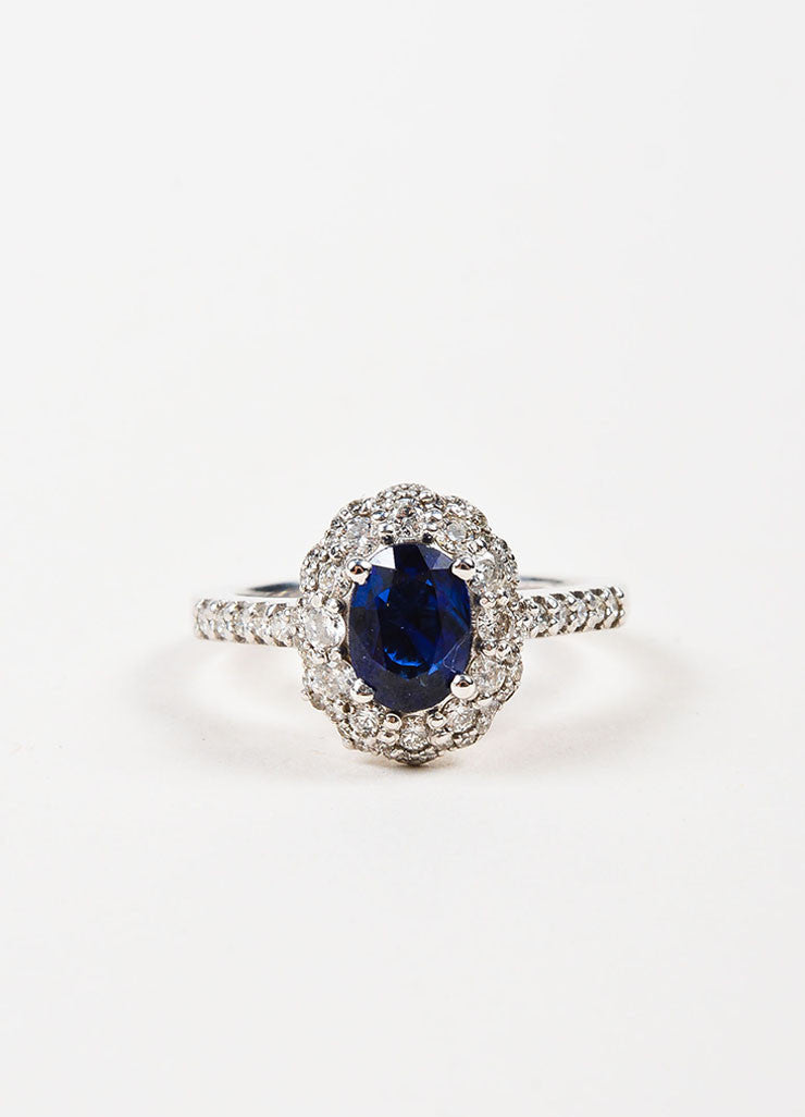"14K White Gold, Blue Sapphire, and Diamond ""Kate Middleton"" Engagement Ring Frontview"