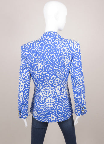 Christian Lacroix Blue and White Abstract Print Blazer Jacket Backview