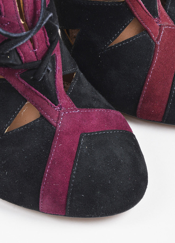 Black and Maroon Alaia Suede Cut Out Stiletto Ankle Boots Detail