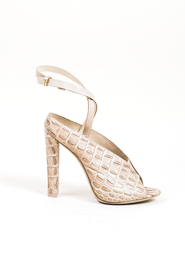 "Taupe Grey Alexander Wang ""Clara"" Croc Embossed Leather Sandals Sideview"