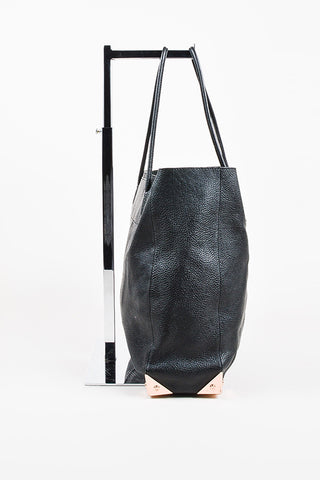 "Alexander Wang Black Pebbled Leather Rose Gold Toned ""Prisma Skeletal"" Tote Bag Sideview"