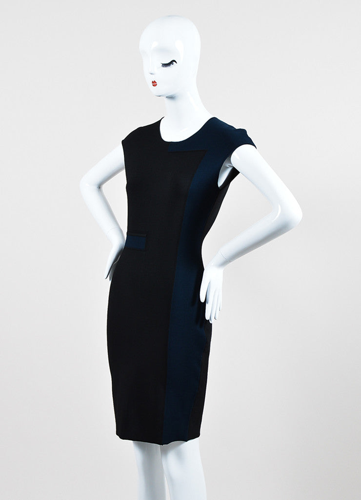 Navy Black Alexander Wang Stretch Knit Color Block Dress Sideview