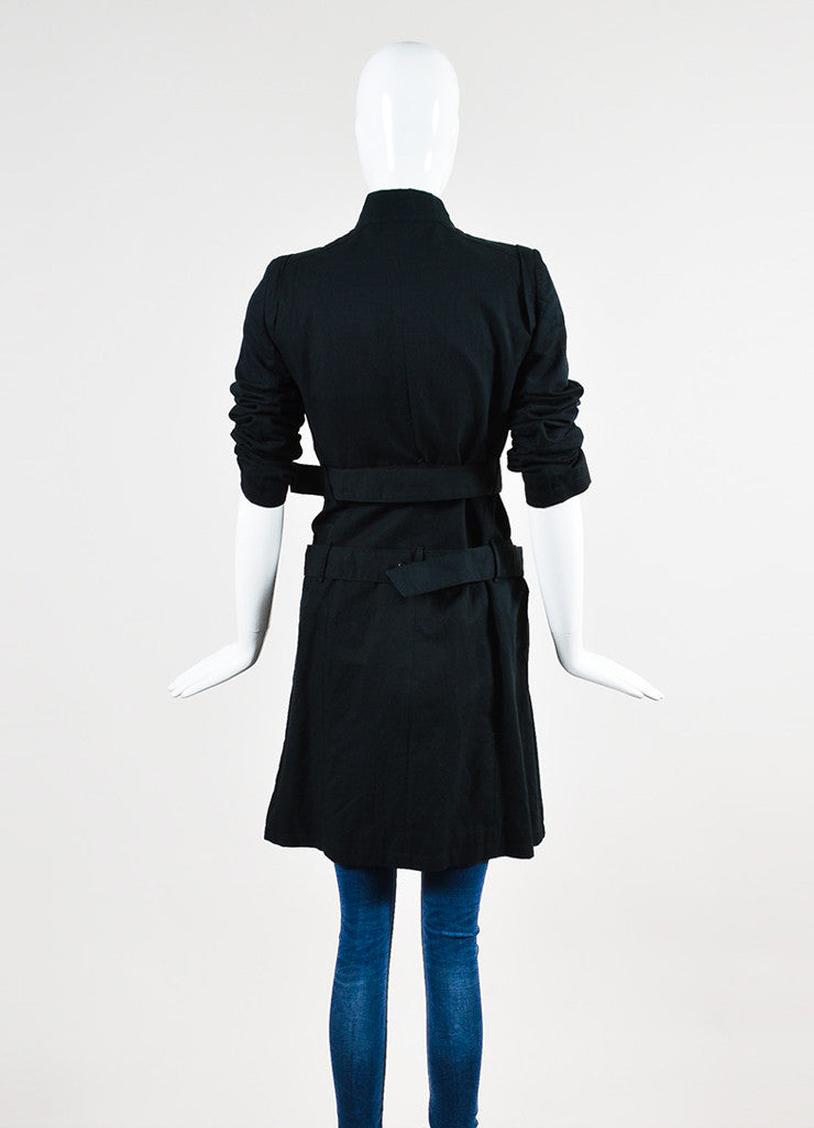 Ann Demuelemeester Black Cotton and Linen Zip Detail Double Belted Coat Backview