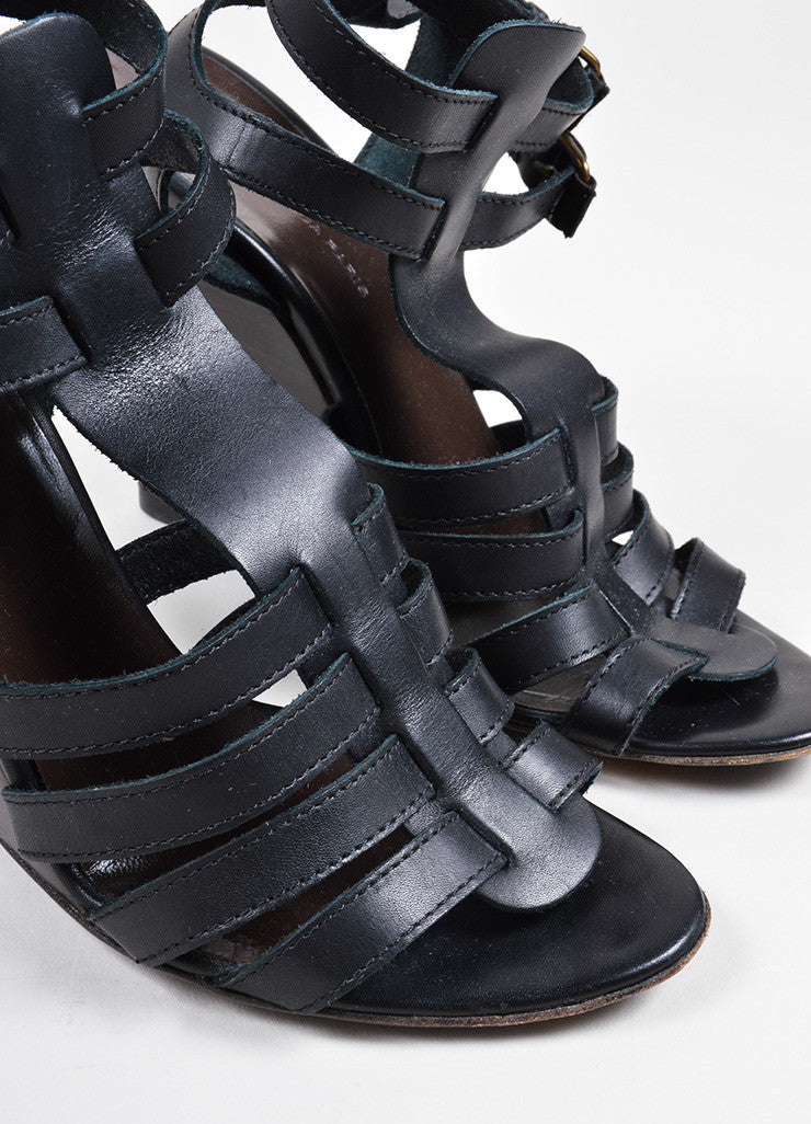 Balenciaga Black Leather Cage Strap Stacked Wedge Sandals Detail