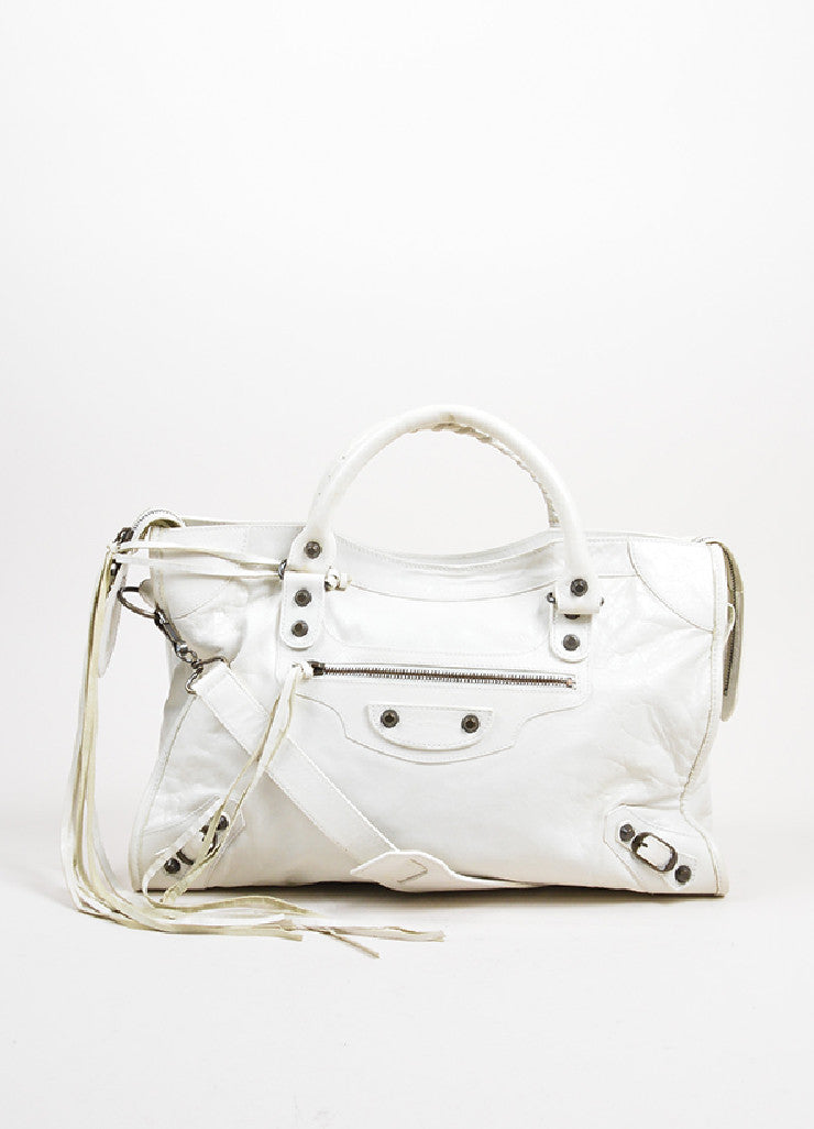 "Cream White Balenciaga Leather ""Classic City"" Satchel Front"