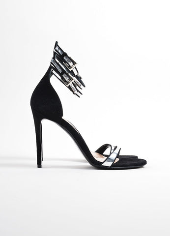 "Barbara Bui Black and Silver Suede ""Cameron"" Ankle Strap Sandals Sideview"
