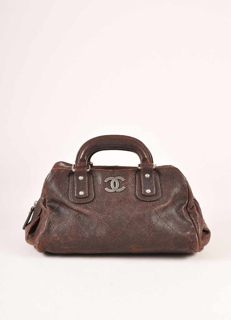 Chanel Brown Leather Quilted Bowler Satchel Handbag Frontview