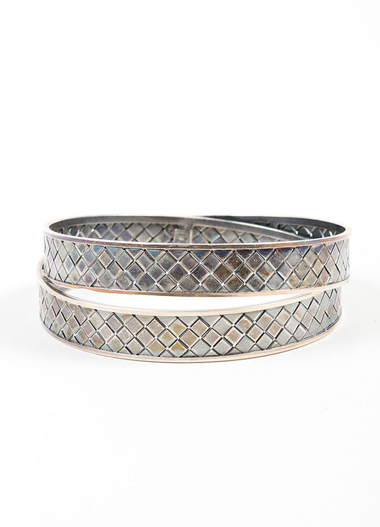 Antiqued Sterling Silver Bottega Veneta Woven Bangle Bracelet Frontview