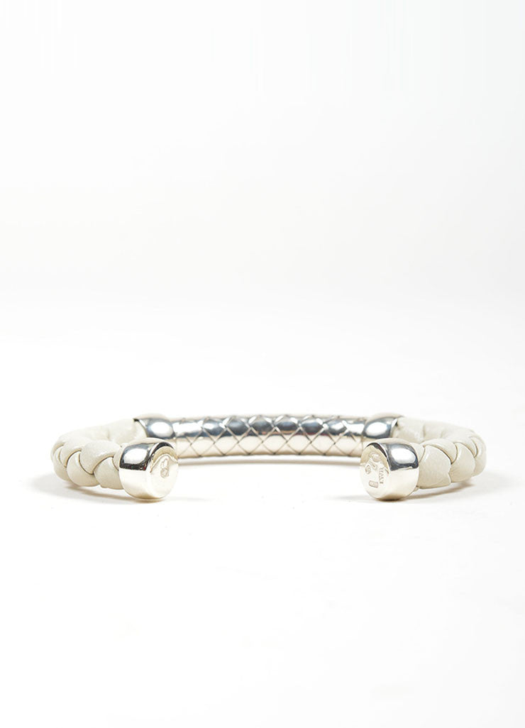 Bottega Veneta Sterling Silver and White Leather Woven Cuff Bracelet Backview