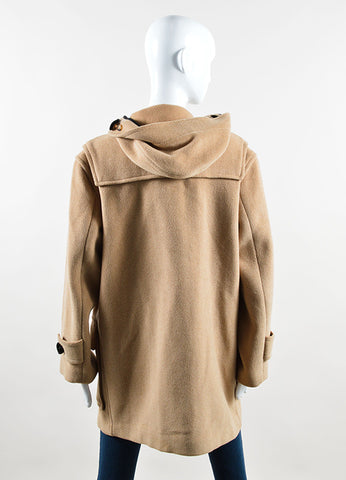 Burberry Tan Wool Toggle Hooded Duffle Coat Backview