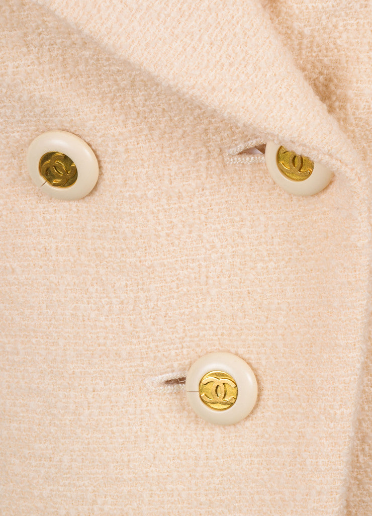 Chanel Cream Boucle Long Sleeve Jacket Detail