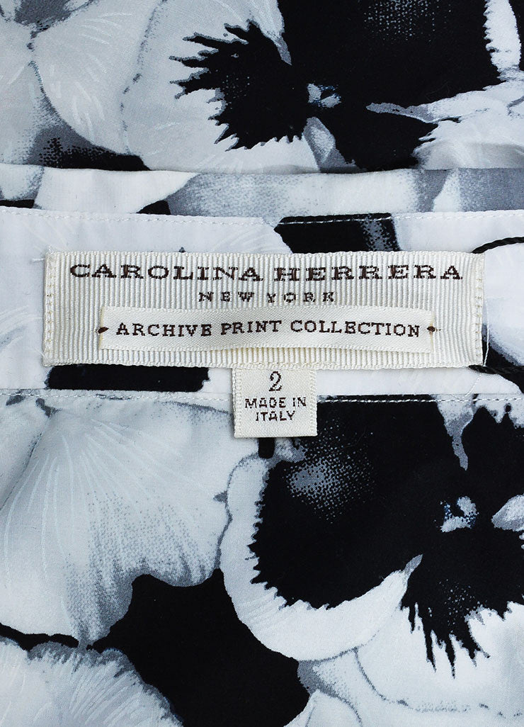 Black, White, and Grey Carolina Herrera Cotton Floral Print Button Down Shirt Brand