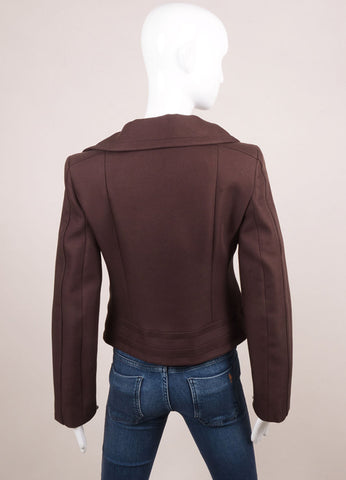 "Carven New With Tags Brown Knit Long Sleeve ""Gab Moto"" Jacket Backview"