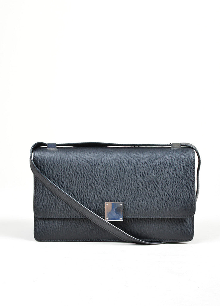 Black Leather Celine Medium Case Bag Frontview