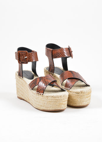 Brown Celine Snakeskin Espadrille Wedge Sandals Front
