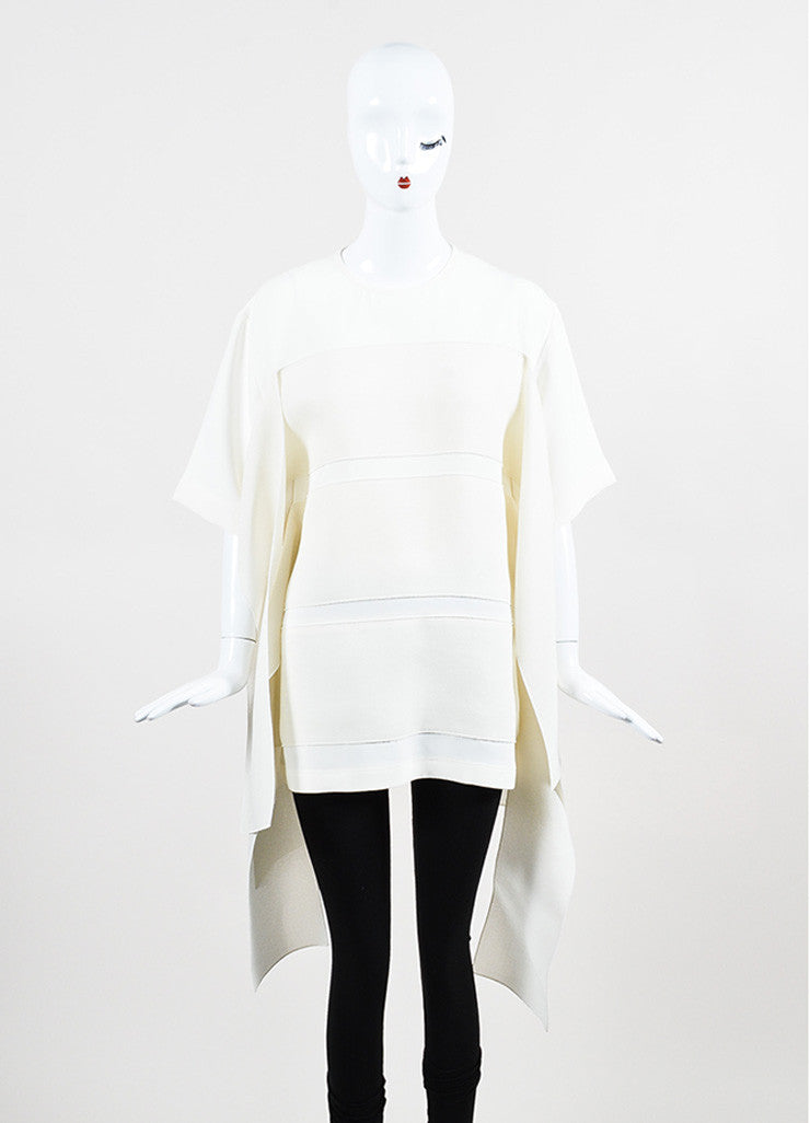 Celine Cream Silk Contrasting Ribbon Short Sleeve Oversized Top Frontview