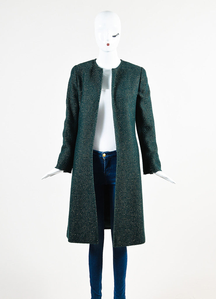 Chanel Hunter Green and Gold Wool Dotted Collarless Coat Frontview