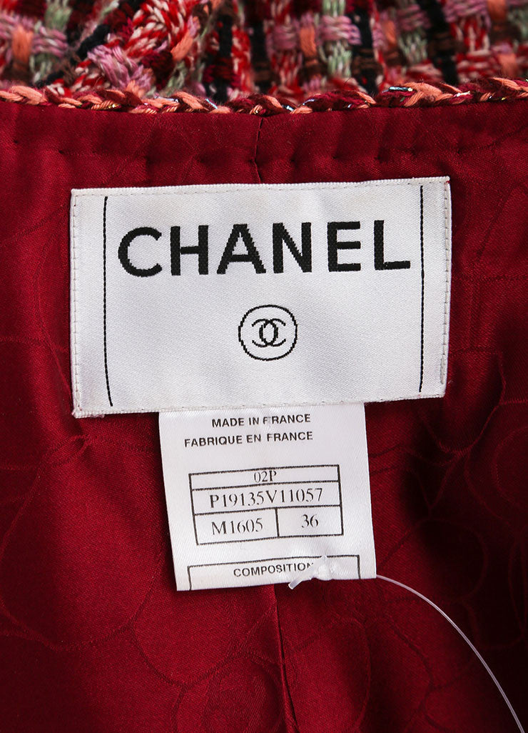 Chanel Red And Pink Cotton Wool Blend Tweed Collarless 'CC' Button Jacket Tag