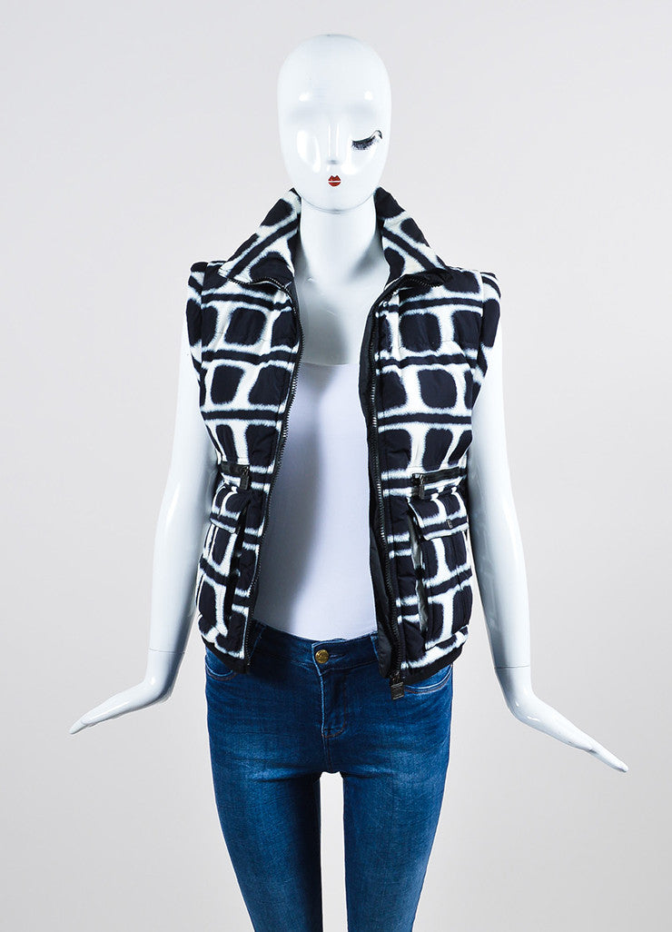 Navy and White Chanel Printed Down Puffer Vest Frontview
