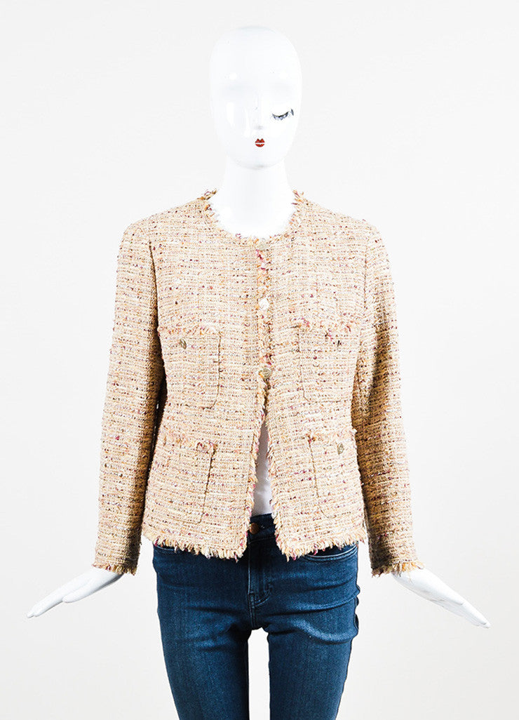 Chanel Beige, Maroon, and Multicolor Tweed Fringe Trim Button Down Jacket Frontview 2