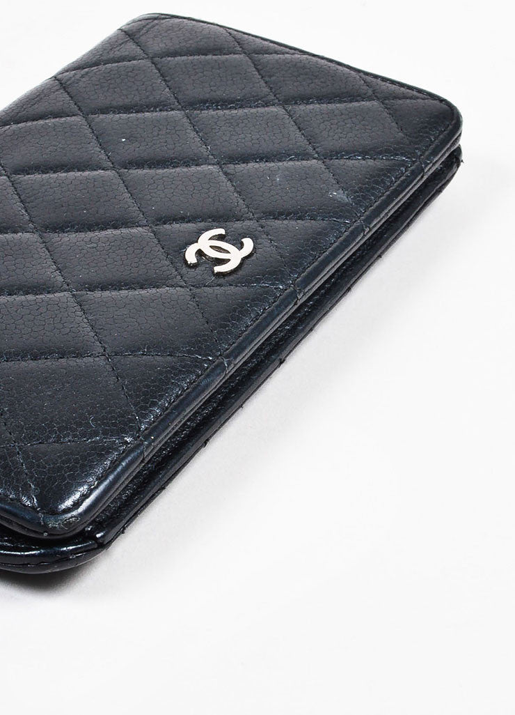 "Chanel Black Leather Quilted 'CC' Charm ""L Yen Holder"" Long Wallet Bottom View"