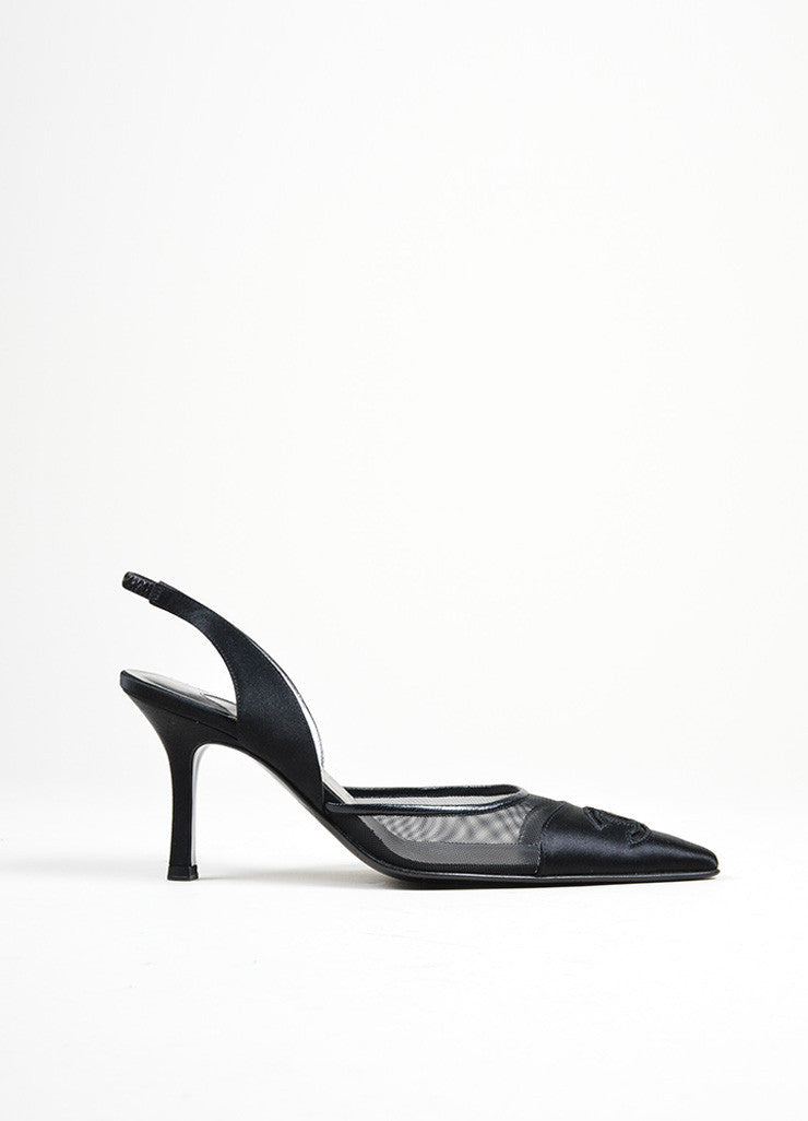 Black Satin Mesh Chanel 'CC' Logo Pointed Toe Slingback Pumps Sideview
