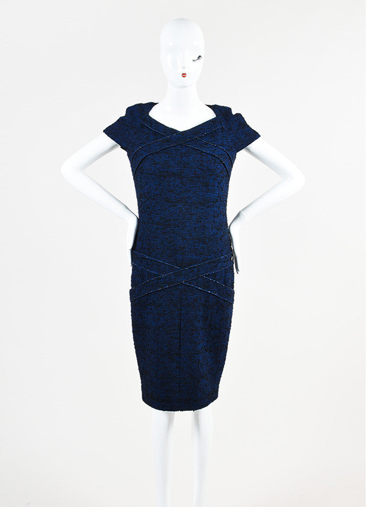 Chanel Blue and Black Alpaca and Wool Blend Tweed Embellished Cap Sleeve Dress Frontview
