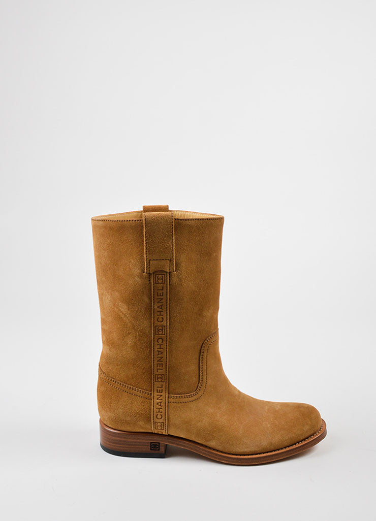 Camel Tan Chanel Suede Embossed Pull Tab Mid Calf Boots Sideview