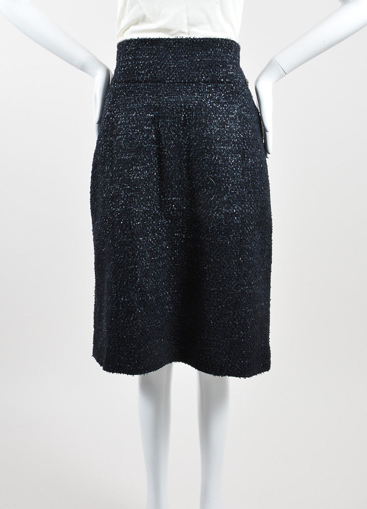 Navy Blue Chanel Wool Blend Tweed Pencil Skirt Frontview