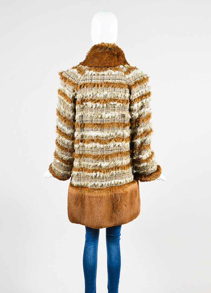 Brown and Cream Chanel Suede Tweed Striped Trim Fantasy Fur Coat Backview