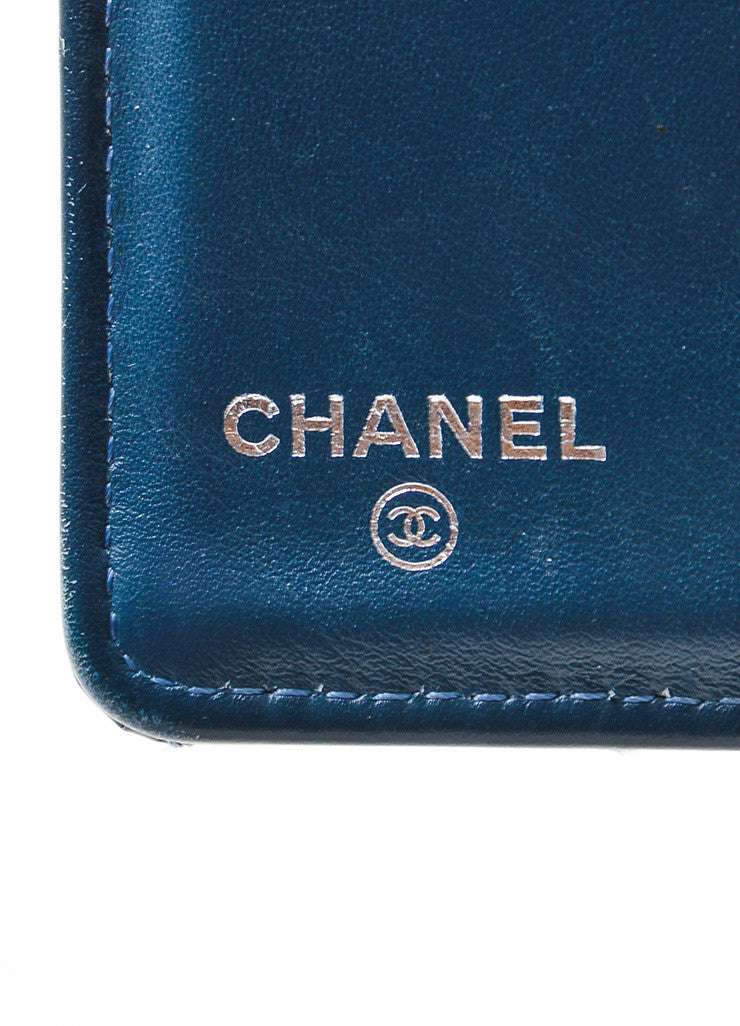 Steel Blue Shimmer Patent Leather Quilted Chanel 'CC' Bifold Wallet Brand