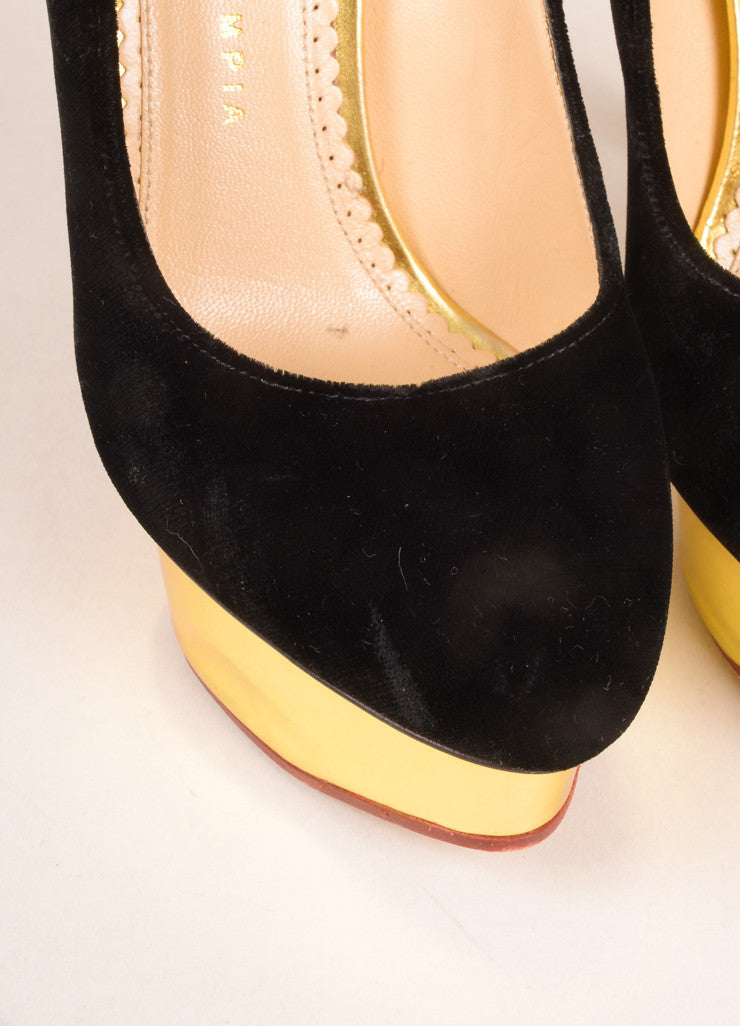 "Charlotte Olympia  DetailBlack and Gold Velvet and Leather ""Dolly"" Platform Pumps Detail"