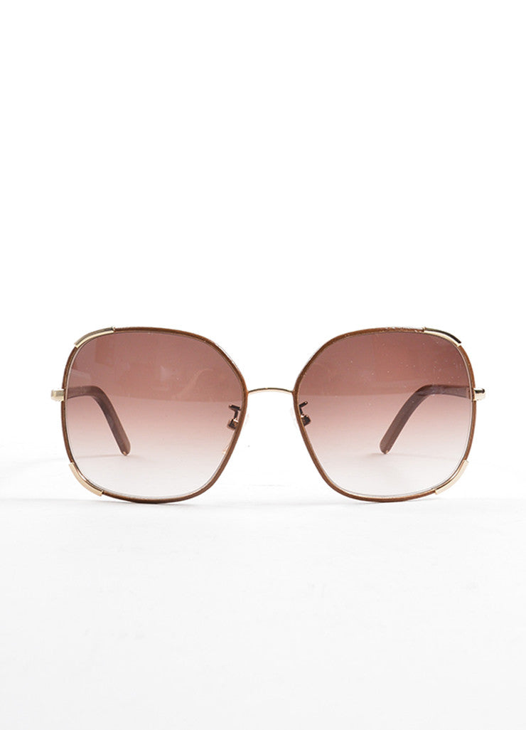 Chloe Brown and Gold Toned Oversized Sunglasses Frontview