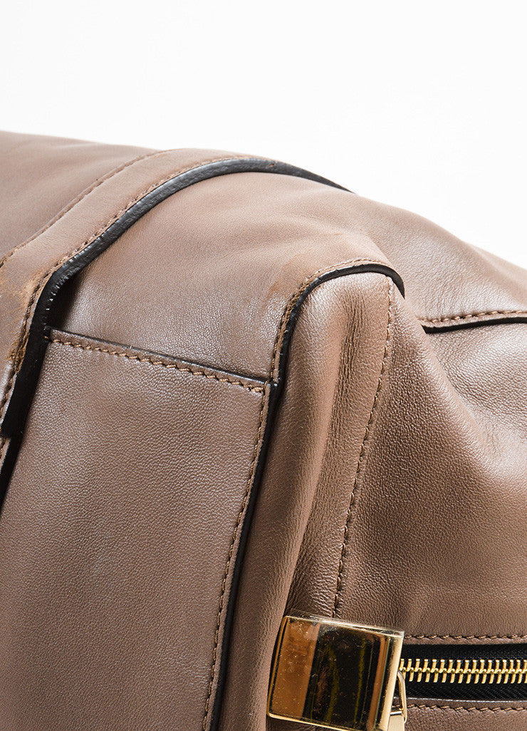 "Chloe Taupe Leather Duffle Satchel ""Madeleine"" Handbag Detail"