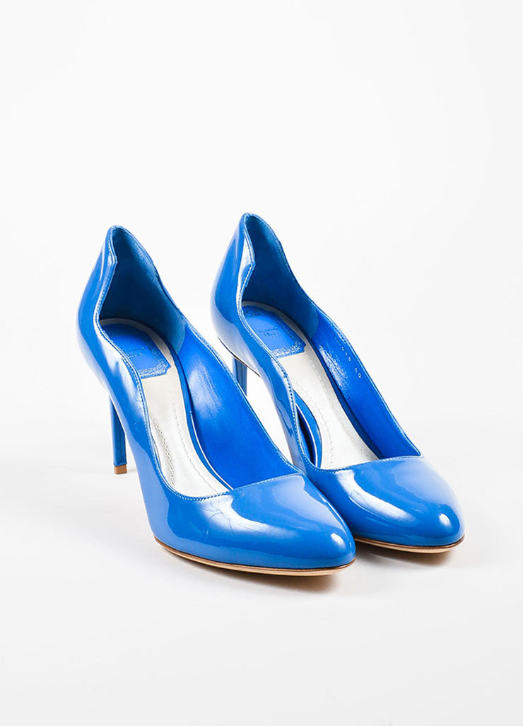 "Blue Christian Dior Patent Leather Wavy ""Silhouette"" Pumps Front"