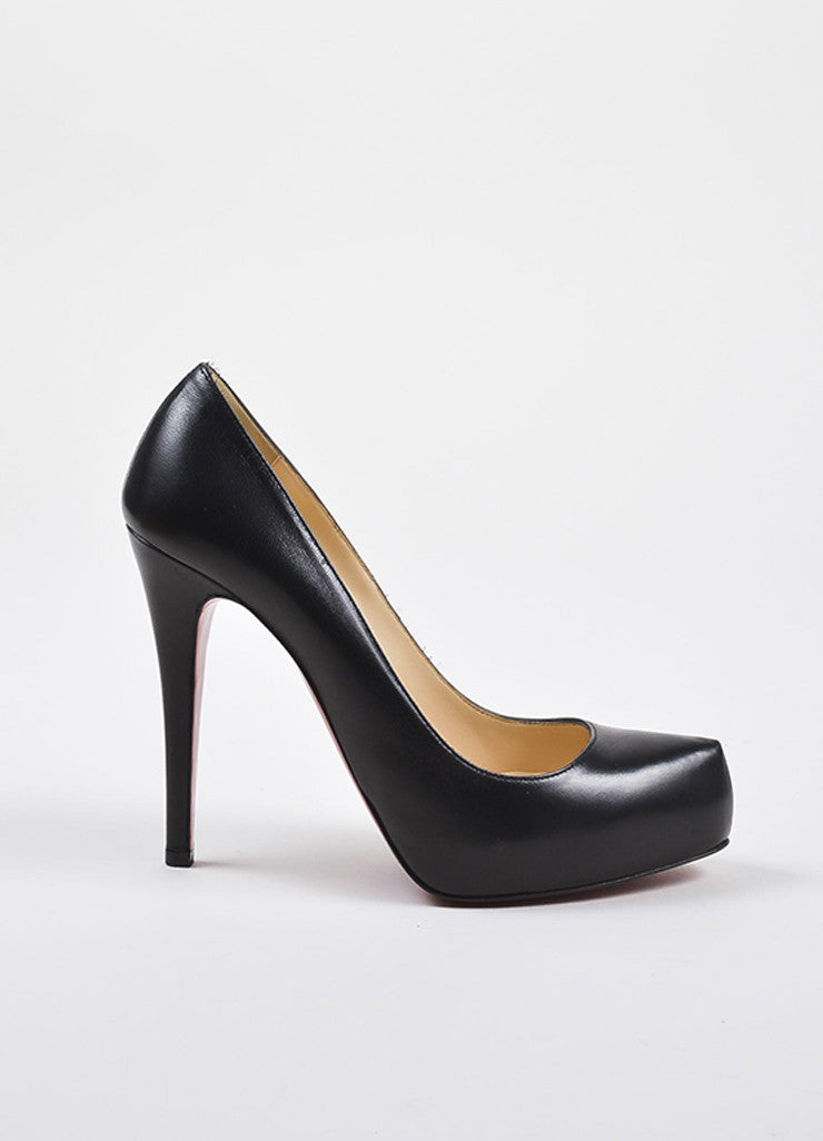 "Christian Louboutin Black Leather ""Rolando"" Hidden Platform Pumps Sideview"