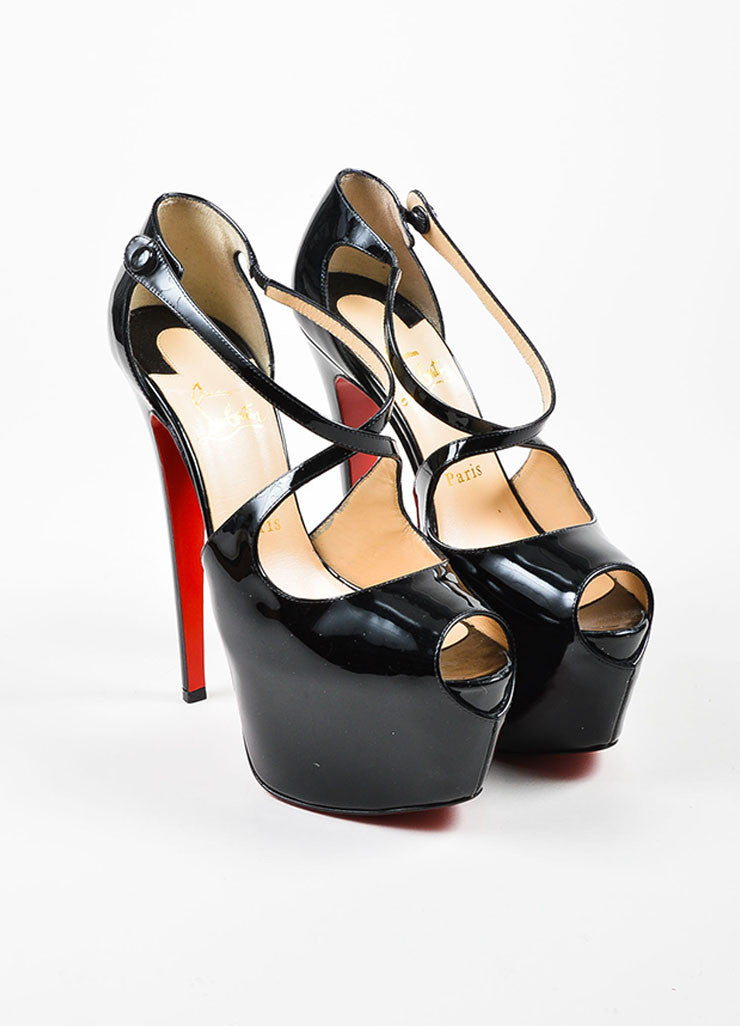 "Christian Louboutin Black Patent Leather ""Exagona"" Platform Pumps Frontview"