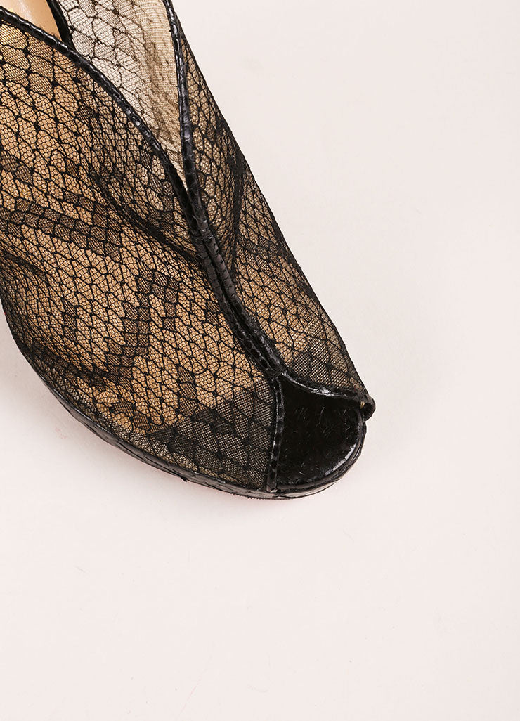 "Christian Louboutin Black Python Leather and Lace ""Janet"" Wedge Booties Detail"