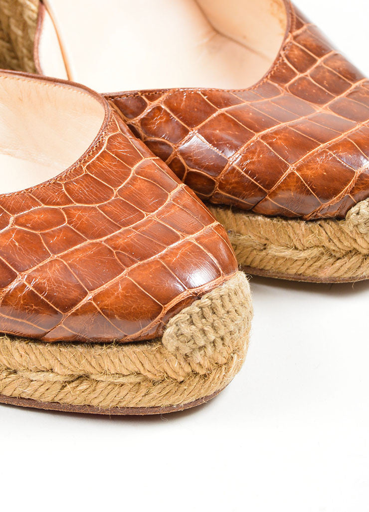Brown Christian Louboutin Alligator Woven Ankle Wrap Espadrille Wedges Detail