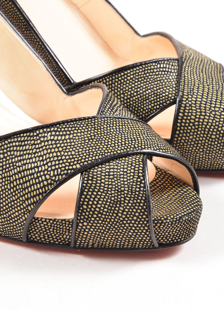 Christian Louboutin Green and Black Pebbled Cross Peep Toe Platform Pumps Detail
