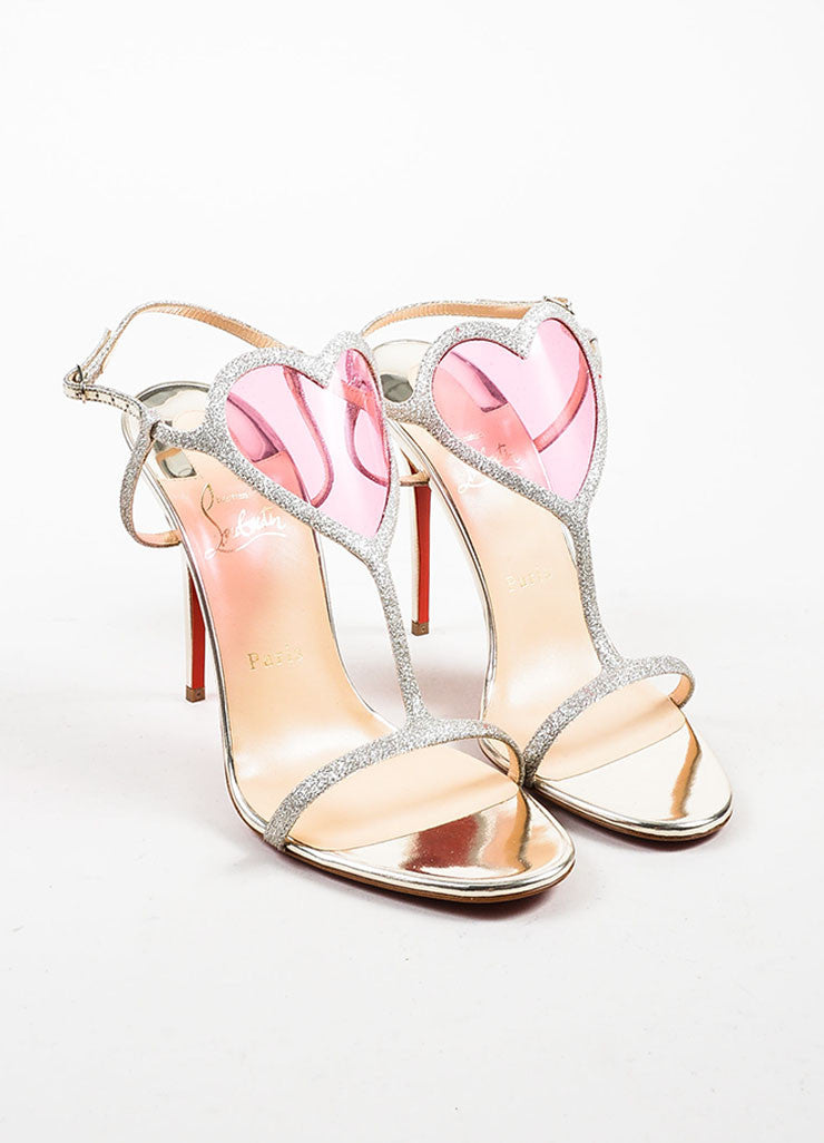 "Silver Christian Louboutin Glitter Heart ""Cora"" Sandals Front"