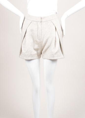 Christian Wijnants New With Tags Beige Wool and Mohair Pleated Shorts Frontview