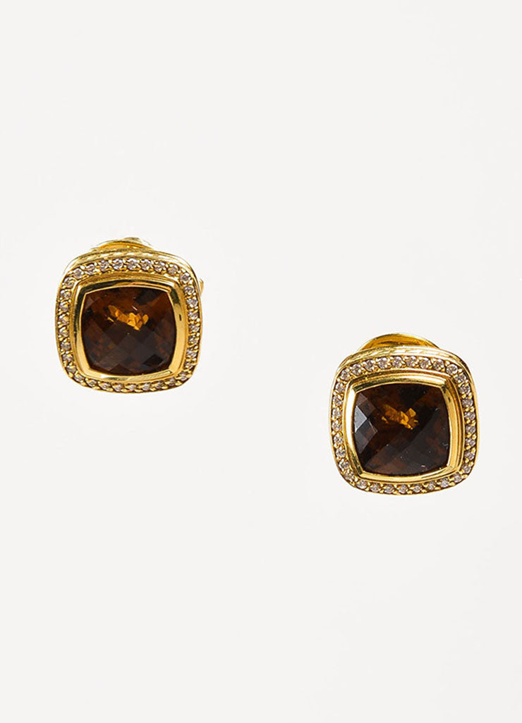 "David Yurman Citrine, 18K Gold, and Diamond ""Albion Collection"" Square Earrings Frontview"
