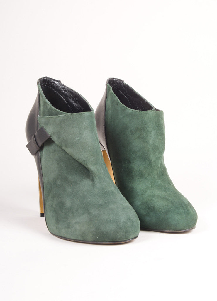 Derek Lam New In Box Black and Green Suede Leather Wrap High Heel Booties Frontview