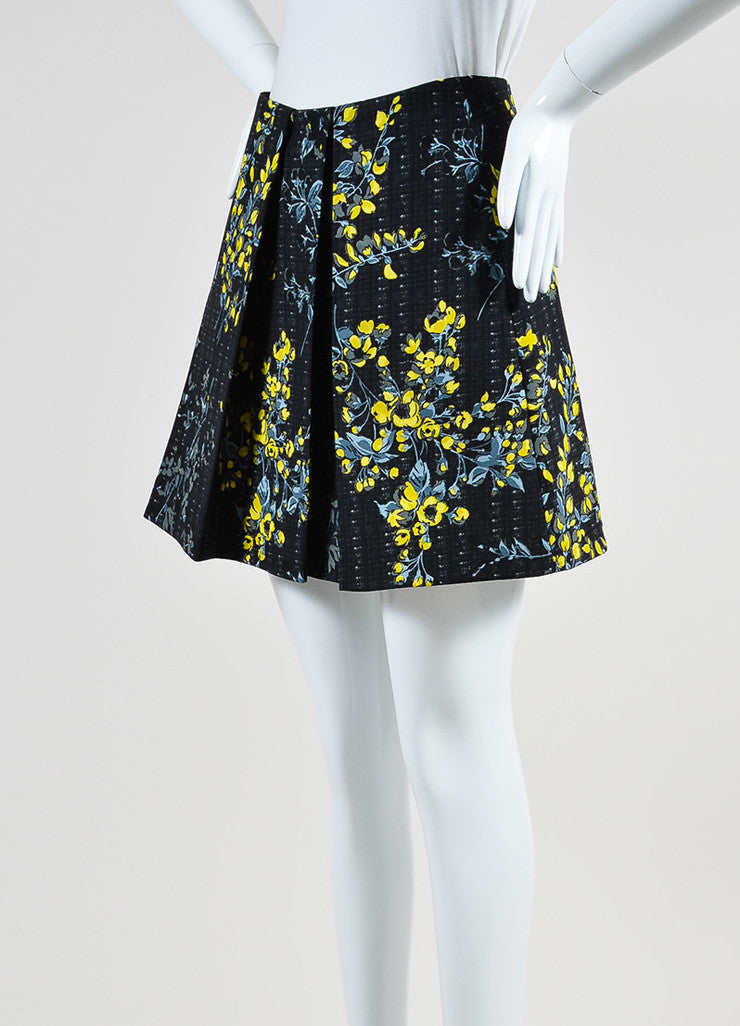 Black, Yellow, and Grey Marni Floral Print Pleated A-Line Skirt Sideview