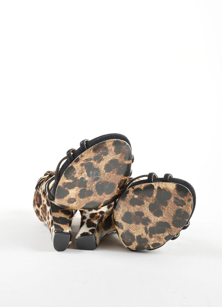 Dolce & Gabbana Black Suede Pony Hair Leopard Strappy High Heel Sandals Outsoles