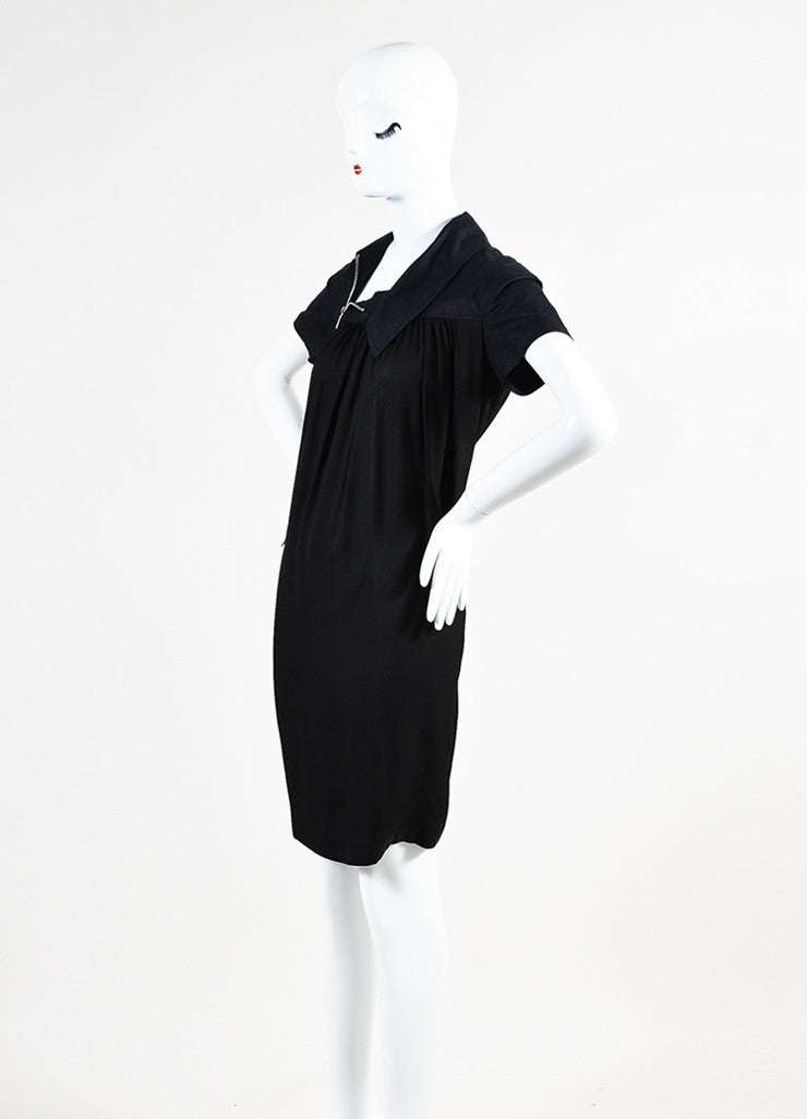 Dries Van Noten Black Pleated Short Sleeve Sack Dress Sideview