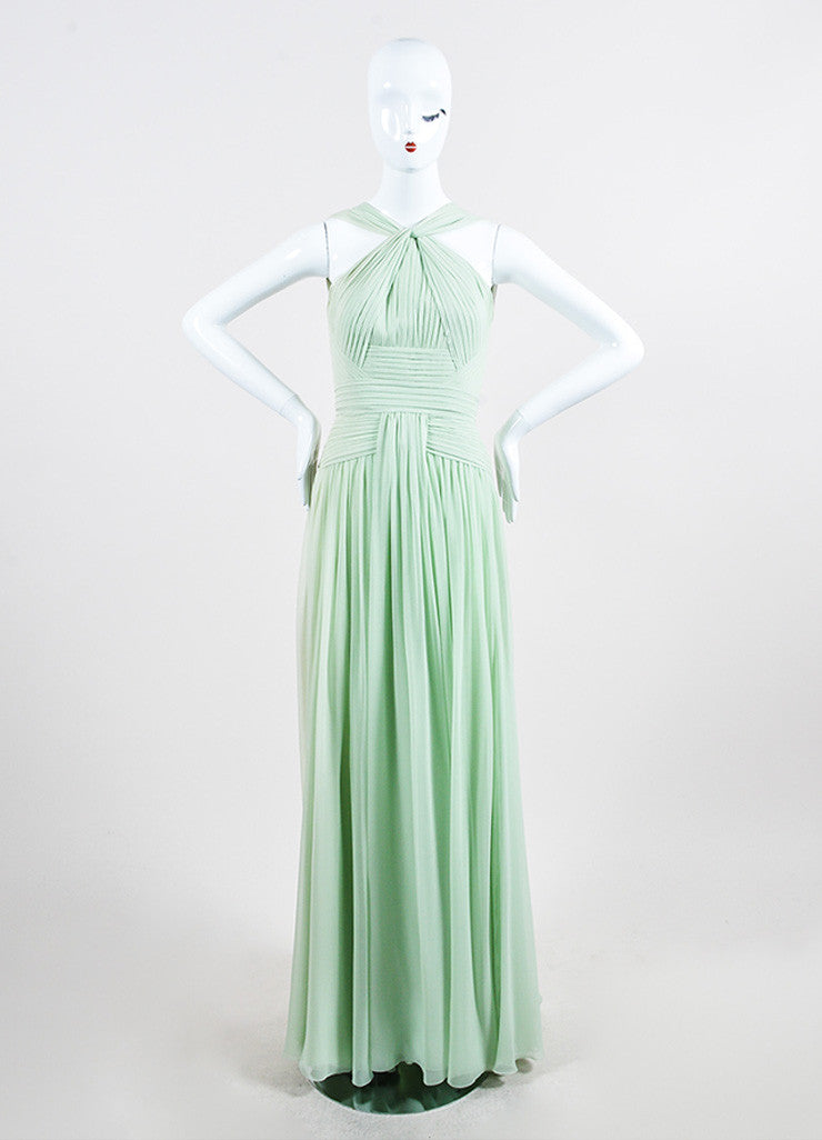 Mint Green Elie Saab Chiffon Pleated Cross High Neck Sleeveless Gown Frontview