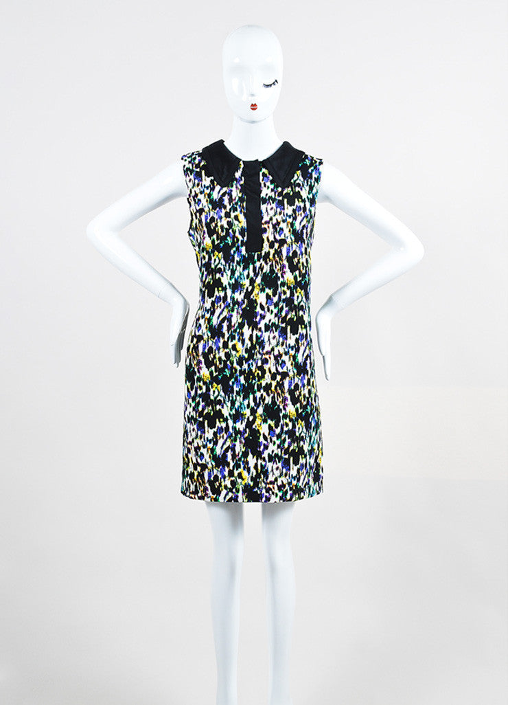 "Multicolor Erdem Crepe Blur Print ""Nessana"" Sleeveless Shift Dress Frontview"