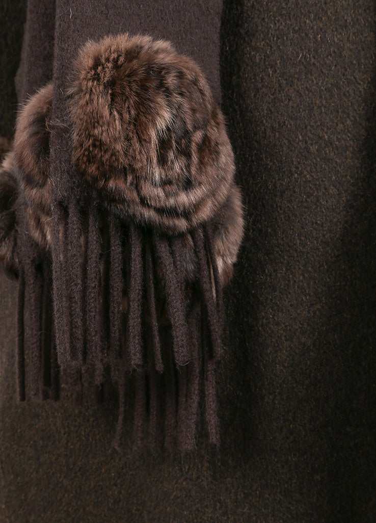 Fendi Brown Cashmere Fur Trim Belted Full Length Long Sleeve Coat Detail